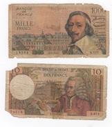 Lot Of 2 Notes, 1000 Francs 1955. - 1955-1959 Surchargés En Nouveaux Francs
