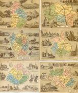 Lot De 6 Cartes - Scolaires Hachette Departements : Allier, Jura, Eure Et Loir, Seine Et Oise, Gers, Sarthe - Mapas