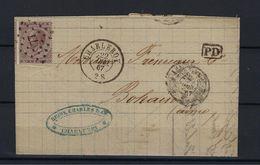 N°19A GESTEMPELD Pt77 Charleroi OP BRIEF NAAR Aisne Frankrijk COB € 24,00 + COBA 2,00 SUPERBE - 1865-1866 Linksprofil