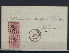 N°20A IN PAAR GESTEMPELD Pt141 Gand OP BRIEF NAAR Namur COB € 325,00 + COBA 4,00 SUPERBE - 1865-1866 Linksprofil