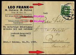 882-CZECHOSLOVAKIA Postcard Cancelation BICYKLES, Fahräder-bicyclettes Leo Frank Judaica M. Ostrau 1935 - Radsport
