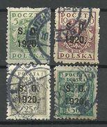 POLEN Poland 1920 Michel 1 - 2 & 4 - 5 Porto Postage Due Doplata Ostschlesien O - Silesia (Lower And Upper)
