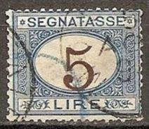 1870 Italia Italy Regno SEGNATASSE L.5 Azzurro E Bruno USATO USED Postage Due - Postage Due