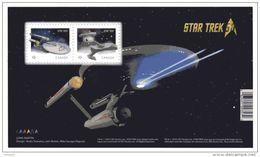"CANADA , 2016, STAR TREK 50th Anniversary  SS With 2 Coils  'P"", USS Enterprise & Klingon On Battle Cruiser - Blocs-feuillets"