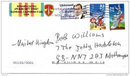 USA Cover To UK 33c Airmail (Verville) Stamp + 32c Bugs Bunny + 33c Roadrunner Postmark Santa Clarita Cal Nov 5  2010 - Poststempel