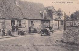 Carte Postale  : Circuit De La Sarthe 1906 (72) Cherré Virage Dangereux  Equipe Bayard     Pub Dunlop    Ed Hirondelle - France