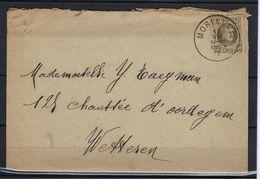 N°255 GESTEMPELD Morlanwelz OP OMSLAG MET INHOUD NAAR Wetteren SUPERBE - 1922-1927 Houyoux