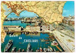 V1293 Saluti Da Cagliari - Carta Geografica Map Carte Geographique - Il Porto / Viaggiata 1974 - Carte Geografiche