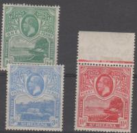 ST HELENA - 1922 King George V Set Of Three. Scott 75-77.  Red Stamp MNH Others Mint. 3d Creased - Saint Helena Island