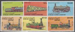 MAURITANIA - 1986 Trains. Scott 469-474. MNH - Mauritanië (1960-...)