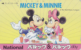 Rare Télécarte Japon / 110-011 - DISNEY ** NATIONAL ** - MICKEY & MINNIE à Table Gâteau Cake - Japan Phonecard - Disney