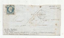 Lettre , 1855 , PARIS 60 , 3 E Départ Pour Bordeaux , PARIS à BORDEAUX , 2 Scans - Postmark Collection (Covers)
