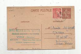 Carte Postale ,1945 , ENTIER POSTAL 1f20 , Duval Moliné & Fils ,machines Agricole , Vire ,Calvados - Entiers Postaux