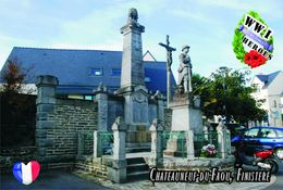 Carte Postale, Militaria, Monuments, World War I Monuments, France (Finistère), Châteauneuf-du-Faou - Monuments Aux Morts