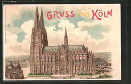 Lithographie Köln, Blick Auf Den Kölner Dom, Halt Gegen Das Licht - Koeln