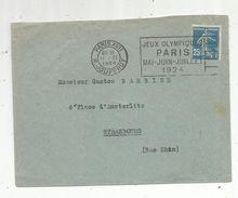 Lettre, 1924 , PARIS XVII ,R. JOUFFROY , Flamme JEUX OMYMPIQUES PARIS, Mai-juin-juillet 1924 - Marcophilie (Lettres)