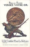 Cpa Publicitaire : L'Or Combat Pour La Victoire, Signée Abel Faivre ( Monnaie ) - Pubblicitari