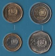 DOMINICANA REP. COIN SET 4 MONNAIES 1 PESO - 25 PESOS 2008 - 2010 BIMETAL - Dominicana