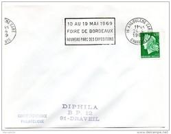 CHARENTE - Dépt N° 16 = ANGOULEME GARE 1969 = FLAMME SECAP  = ' FOIRE De BORDEAUX  / NOUVEAU PARC Des EXPOSITIONS ' - Marcophilie (Lettres)