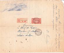 Merson 119  Sur Recommandé De Mellecey (Saône-et-Loire) à Chalon-sur-Saône  (1919) - Covers & Documents