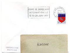 CHARENTE - Dépt N° 16 = ANGOULEME GARE 1968 =  FLAMME Codée =  SECAP  ' FOIRE INTERNATIONALE De BORDEAUX ' - Marcophilie (Lettres)