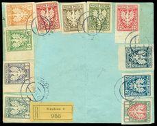 Polen 1919 Registrierter Umschlag Mit Freimarken Für Galizien Mi 54-64 - 1919-1939 République