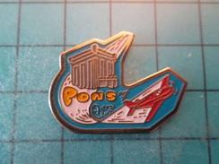 Pin510b Pin's Pins : Rare Et Belle Qualité : PONS AERO-CLUB AVION CIVIL ROUGE   , Marquage Au Dos : - ----- - - Airplanes