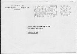 1989 - SPM - ENVELOPPE En FRANCHISE POSTALE De La PREFECTURE De SAINT PIERRE ET MIQUELON => SOUS-PREFECTURE De RIOM - Lettres & Documents