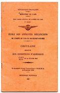 Livret Ecole Apprentis Mécaniciens De L Aviation Armée De L'Air Rochefort 1934 - Vieux Papiers