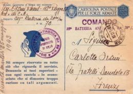 VENDO N.1 CARTOLINA MILITARE,PER LE FORZE ARMATE,CON POSTA MILITARE.N.78 FORMATO GRANDE - Weltkrieg 1939-45