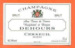 Etiquette De Champagne Brut Dehours à Cerseuil - 75 Cl - Champagne