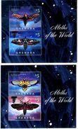GRENADA 2014** - Farfalle / Butterflies - 2 Block Di 2 Val. MNH, Come Da Scansione. - Butterflies