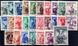 AUSTRIA 1948, COSTUMI Serie  Usata 27  Valori (Unificato N. 738A/754A) - 1945-.... 2a Repubblica