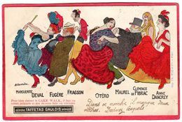 CPA Barrére Publicité Corset Taffetas Gaulois Cake Walk Caricatures Deval Fugère Fragson Otéro Maurel Pibrac Dancrey Il2 - Illustrateurs & Photographes