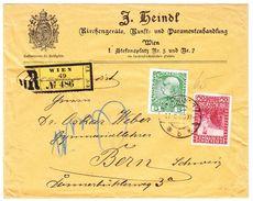 R-Firmenbrief Von Wien Nach Bern, Rückseitig Vignette Paramentenhandlung - Briefe U. Dokumente