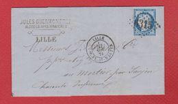 Lettre  De Lille --  Pour Mortier -- 2 Nov 1874 - Marcophilie (Lettres)