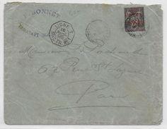 MADAGASCAR - 1895 - SAGE SURCHARGE Sur ENVELOPPE De TAMATAVE Avec OBLITERATION MARITIME LIGNE T PAQUEBOT N°1 => PARIS - Lettres & Documents