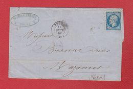 Lettre  De Tours --  Pour Mazamet -- 14 Sept 1860 - Postmark Collection (Covers)