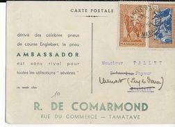 MADAGASCAR - 1939 - CARTE PUB DECOREE (PNEUS ENGLEBERT AMBASSADOR AU DOS)  De TANANARIVE => TAMATAVE Puis MENAT - Madagaskar (1889-1960)