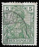 """Timbre D' Allemagne 1900    """"    Y & T N° 53   """"    Légende   REICHSPOST ,  5 P. Vert   ( Décoté ) - Alemania"""