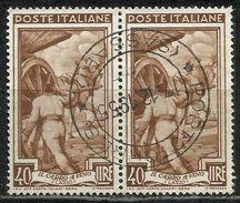 Timbro Tondo PORTOTORRES (SASSARI) 17. 12. 1955 - 40 Lire Coppia, Italia Al Lavoro - 6. 1946-.. Repubblica