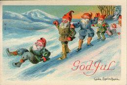 Mini AK - ARTIST SIGNED: GERDA SPRINCHORN - CHRISTMAS - NOEL - ZWEDEN / SWEDEN - KABOUTERS / ZWERGE / LUTINS / GNOMES - Other