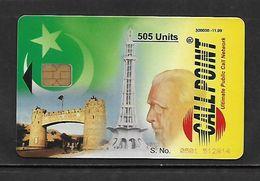 PAKISTAN CALLPOINT DANCOM 505 UNITS PAY PHONE ADVERT CARD.CHIP PHONE CARD.KHYBER PASS GATE,FLAG,MINAR - Pakistan