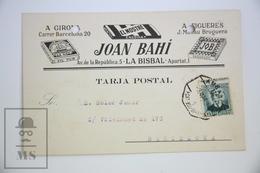 Old 1937 Spanish Commercial Advertising Postcard - Engomat Joan Bahi - Tobacco Cigarette Paper - Publicidad