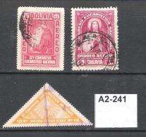 Bolivia 1939 Air. 2nd National Eucharistic Congress 75c, 4b And 10b - Bolivia