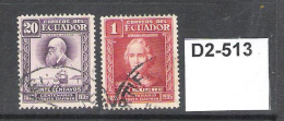 Ecuador 1936 Centenary Of Darwin's Visit To The Galapagos Islands. 20c And 1s - Ecuador
