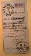 VAGLIA POSTALE RICEVUTA LANCIANO 1910 CON DOPPIA TIMBRATURA R.R. PAGATO - 1900-44 Victor Emmanuel III.