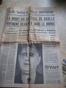 """La Voix Du Nord """"la Mort Du Général De Gaulle """"11 Novembre 1970 - Documents Historiques"""