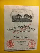 6443 - Château Grand Puy Lacoste Saint Guirons 1976 Pauillac - Bordeaux