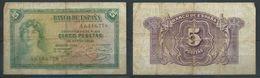 ESPAGNE SPANIEN SPAIN ESPAÑA 1935 5 PTAS II REPÚBLICA ESPAÑOLA - [ 2] 1931-1936 : République